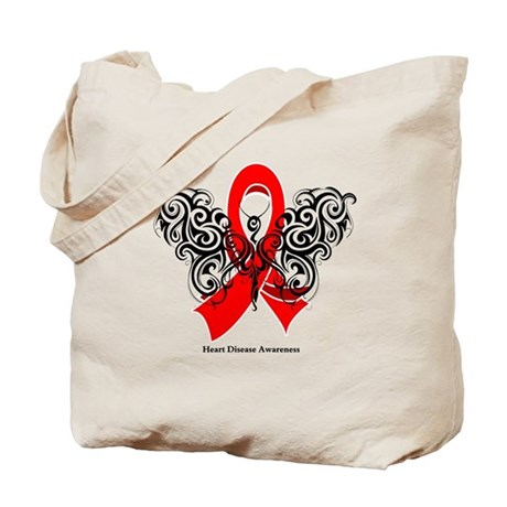 Heart Disease Tribal Butterfly Tote Bag