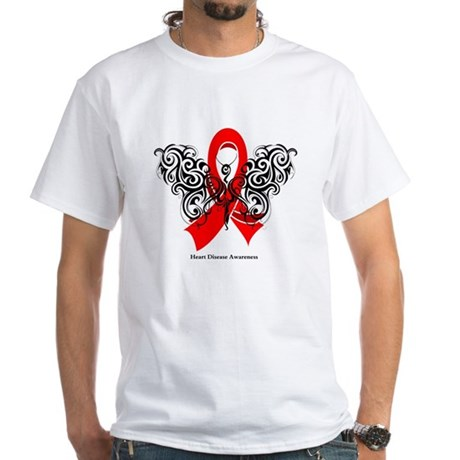 Heart Disease Tribal Butterfly White T-Shirt
