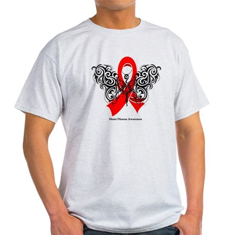 Heart Disease Tribal Butterfly Light T-Shirt
