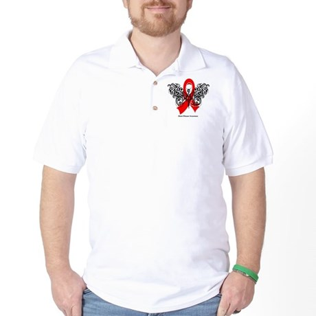Heart Disease Tribal Butterfly Golf Shirt