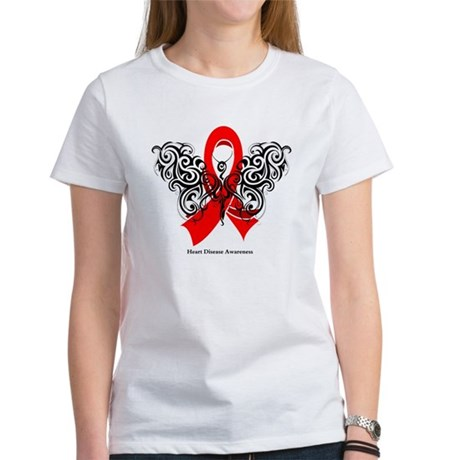 Heart Disease Tribal Butterfly Women's T-Shirt