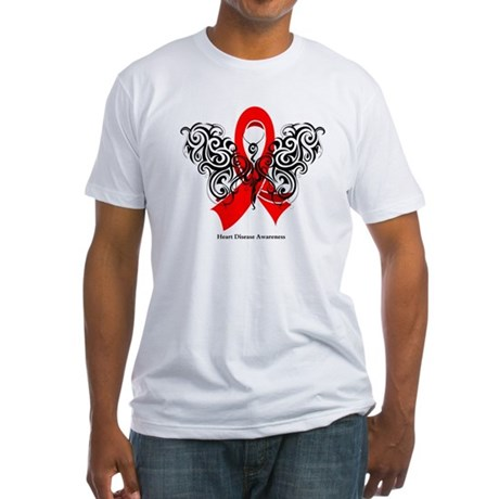 Heart Disease Tribal Butterfly Fitted T-Shirt