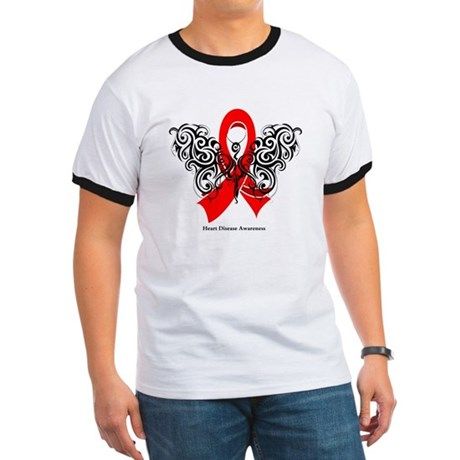 Heart Disease Tribal Butterfly Ringer T