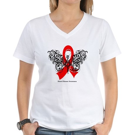 Heart Disease Tribal Butterfly Women's V-Neck T-Sh