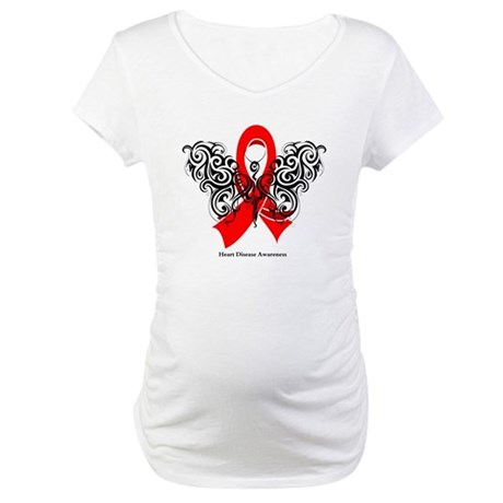 Heart Disease Tribal Butterfly Maternity T-Shirt