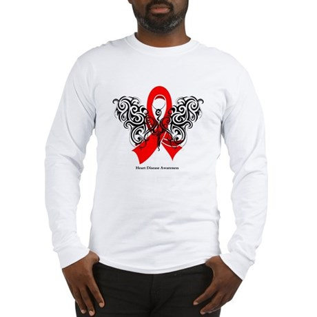 Heart Disease Tribal Butterfly Long Sleeve T-Shirt