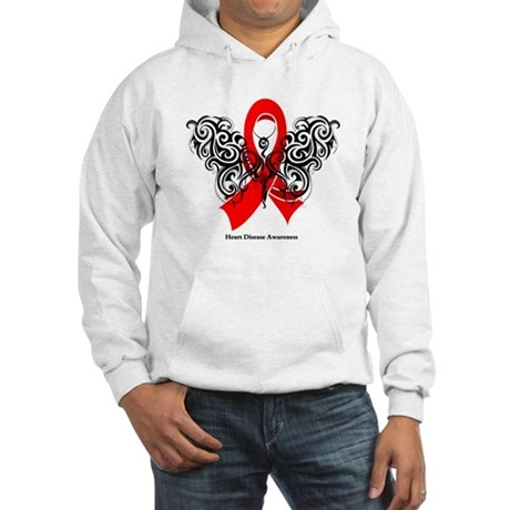 Heart Disease Tribal Butterfly Hooded Sweatshirt