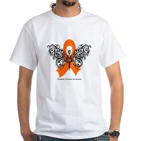 Multiple Sclerosis Tribal White T-Shirt
