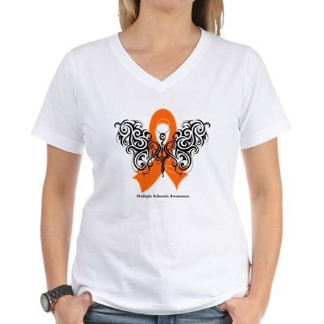Multiple Sclerosis Tribal Women's V-Neck T-Shirt