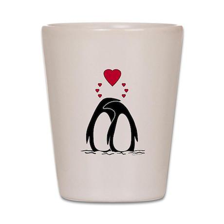 Loving Penguins Shot Glass