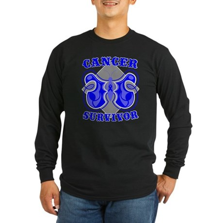 Colon Cancer Deco Survivor Long Sleeve Dark T-Shir