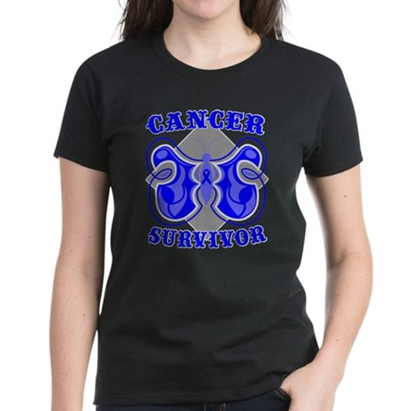 Colon Cancer Deco Survivor Women's Dark T-Shirt