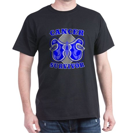 Colon Cancer Deco Survivor Dark T-Shirt