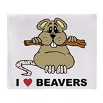 I Love Beavers Throw Blanket