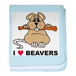 I Love Beavers baby blanket