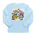 Yellow Cat Loves Grey Cat Long Sleeve Infant T-Shi