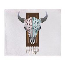 Native American Cow Skull Throw Blanket