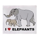 I Love Elephants Throw Blanket