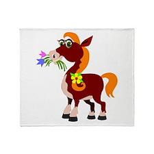 Cartoon Horse Throw Blanket