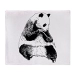 Hand Sketched Panda Throw Blanket