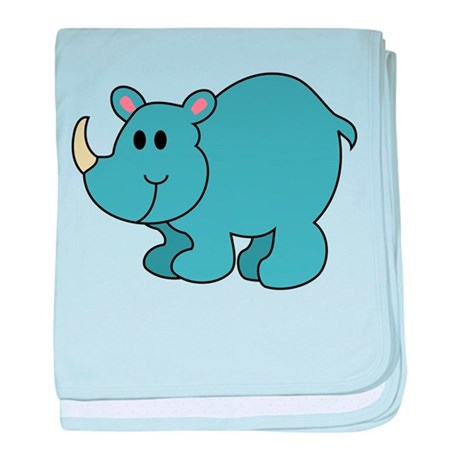 Cartoon Rhinoceros baby blanket