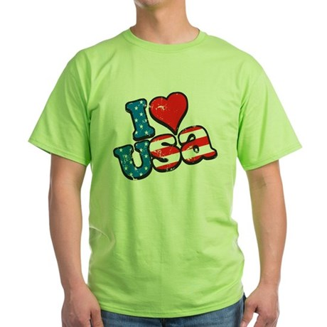 I Love USA Green T-Shirt