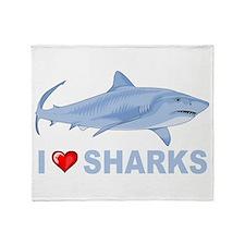 I Love Sharks Throw Blanket