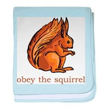 Obey The Squirrel baby blanket