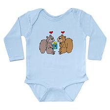 Squirrels In Love Long Sleeve Infant Bodysuit