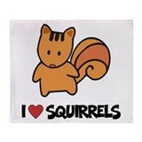 I Love Squirrels Throw Blanket