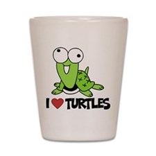 I Love Turtles Shot Glass