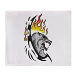 Flaming Wolf Tattoo Throw Blanket