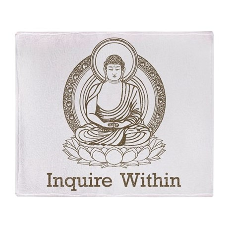 Vintage Buddha Inquire Within Throw Blanket
