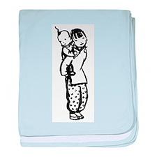 Hand Drawn Chinese Girl + Bab baby blanket
