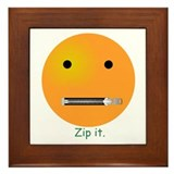 Zip It Smiley Face Emoticon Framed Tile
