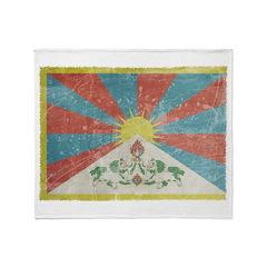 Vintage Tibet Flag Throw Blanket