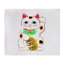 Japanese Lucky Cat Throw Blanket