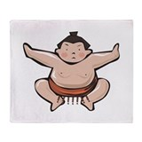 Japan Sumo Wrestler Throw Blanket