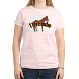 I Love Mules Women's Pink T-Shirt