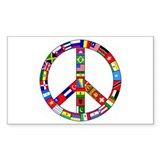 Peace Sign Made of Flags Rectangle Decal