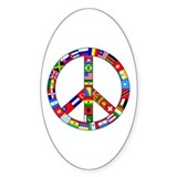 Peace Sign Made of Flags Oval Decal