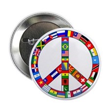 "Peace Sign Made of Flags 2.25"" Button (10 pack)"