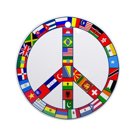 Peace Sign Made of Flags Ornament (Round)