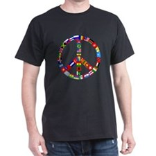 Peace Sign Made of Flags Black T-Shirt