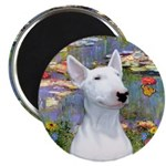 Lilies 2 - Bull Terrier #1 Magnet