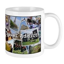 """Travel Addict""  PhotoSplash Mug"
