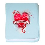 Heart Missouri baby blanket