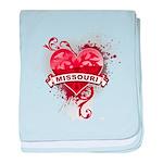 Heart Missouri baby blanket