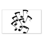 MUSICAL NOTES Sticker (Rectangle 10 pk)