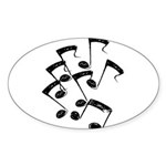 MUSICAL NOTES Sticker (Oval 50 pk)